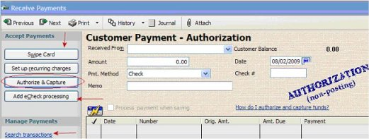 QuickBook 2013- now get preauthorization on QuickBooks Credit Cards