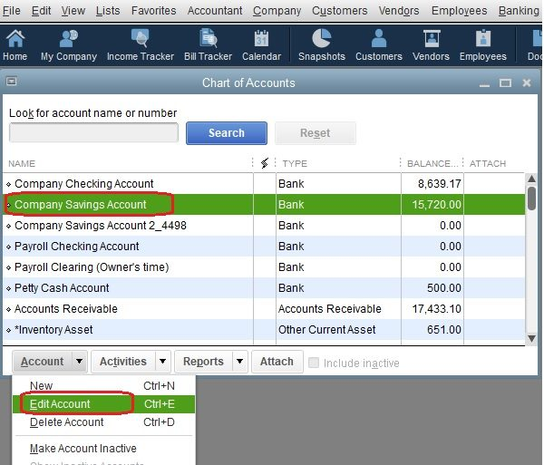 How To Edit a Savings Account in the Chart of Accounts in QuickBooks