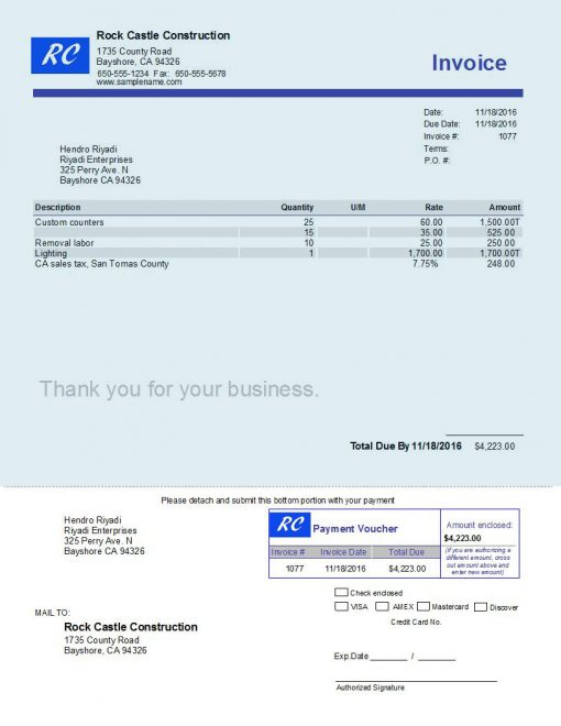 QuickBooks Invoice With Payment Voucher Httpswwwqbalancecom - Intuit invoice envelopes