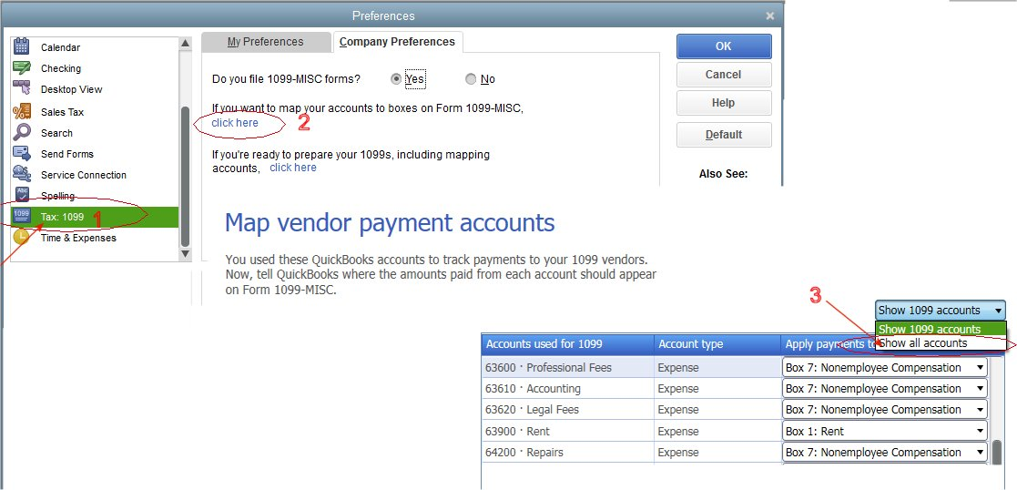 QuickBooks 1099 Chart of Accounts Vendor Mapping