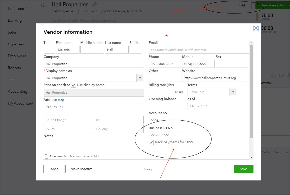 QuickBooks Online Vendor Record Screenshot