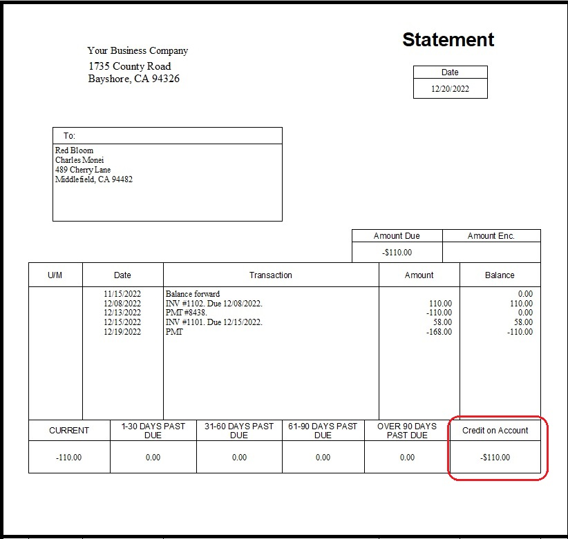 QuickBooks Customer Statement with a negative balance as credit