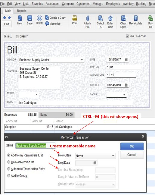 How QuickBooks memorized transactions work.