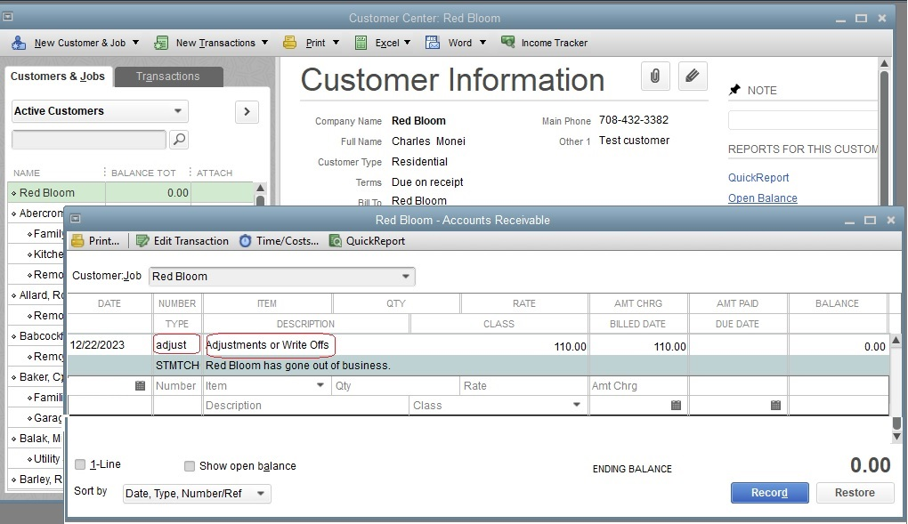 QuickBooks Account Receivable Window with Adjustments or Write Offs
