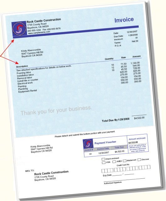 QuickBooks Invoice Forms With Tear Off Payment Voucher - Quickbooks invoice layout