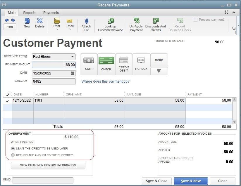 Receive Payments Window in QuickBooks