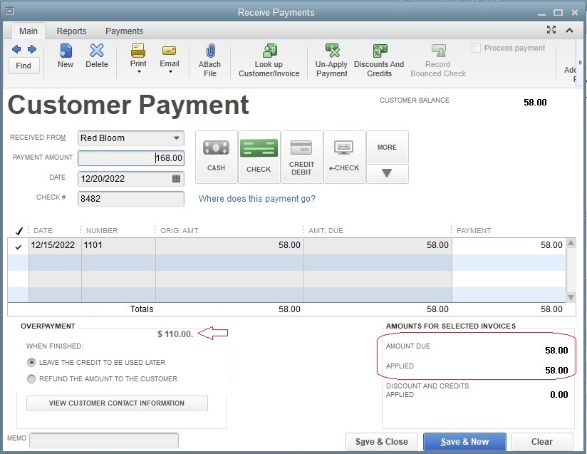 Receive payment window showing customer payment of invoice with an overpayment.