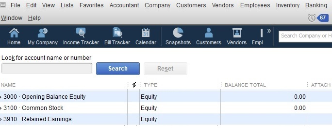 Sample QuickBooks Contractor Equity Accounts