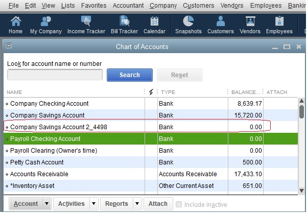 Second Company Savings Account in the Chart of Accounts in QuickBooks