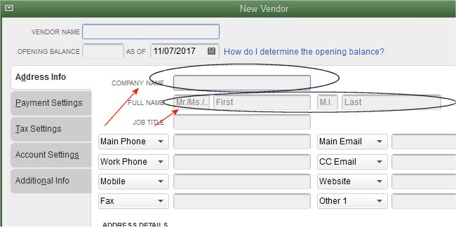 Vendor setup for QuickBooks 1099 Form
