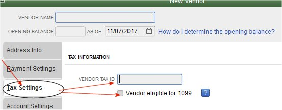 Vendor tax setup for QuickBooks 1099 form