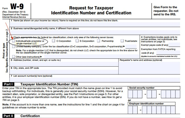 Sample W 9 form for QuickBooks 1099 form