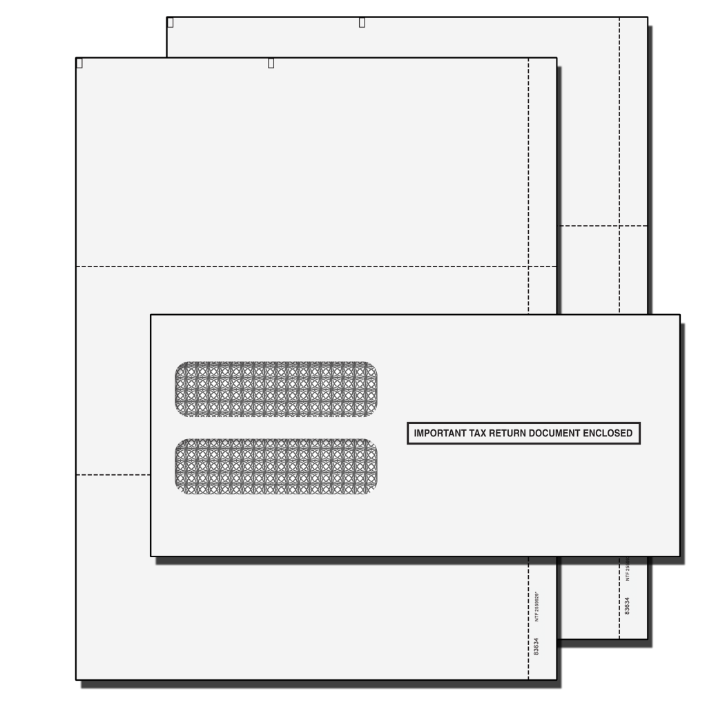 2019 W2 Double 3 UP Blank Perforated Tax Forms With Envelopes