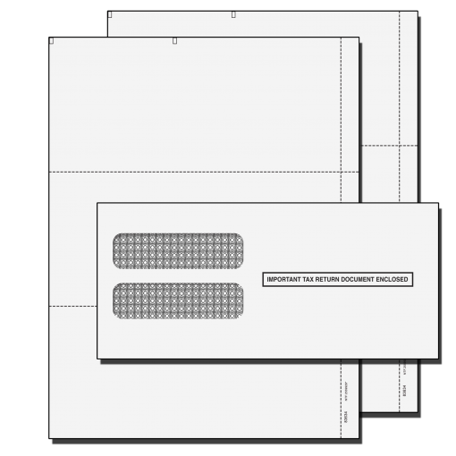 W2 Double 3 UP Blank Perforated tax form kit