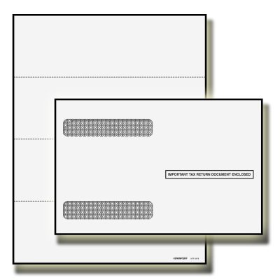 2018 W2 Double 3 UP Blank Perforated Tax Forms with Envelopes